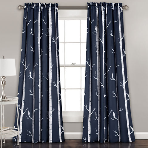 Bird On The Tree 2-Pack Room Darkening Curtain Panel