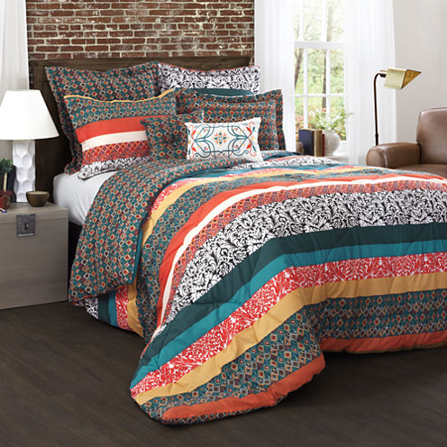 Lush Decor Boho Stripe Comforters 7 Piece Set