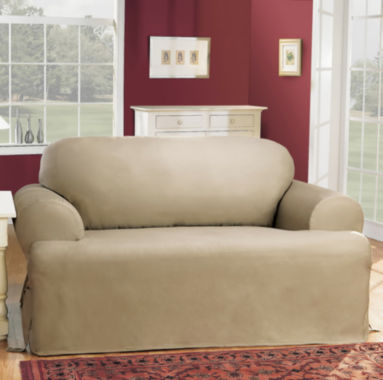 jcpenney.com | SURE FIT® Cotton Duck T-Cushion Loveseat Slipcovers