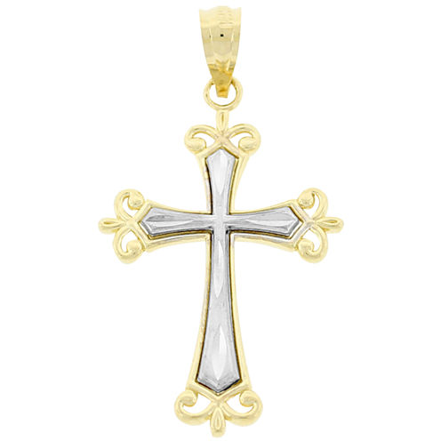Women's Two-Tone Cross Pendant 10K Gold