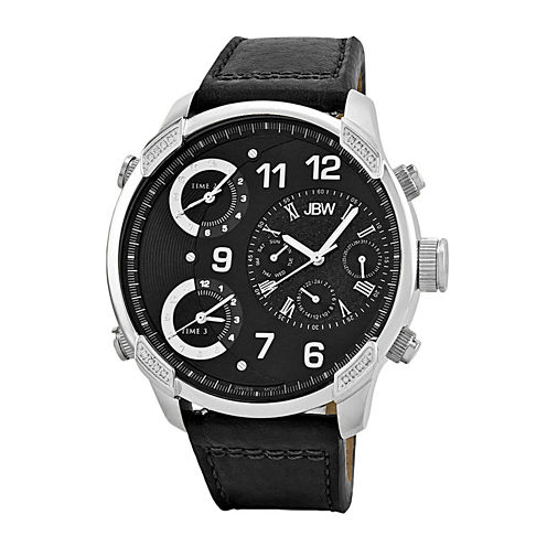 JBW The G4 Mens Diamond-Accent Black Leather Strap Watch J6248LB