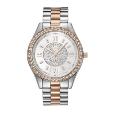 jcpenney.com | JBW Mondrian Womens Diamond- and Crystal-Accent Two-Tone Stainless Steel Bracelet Watch J6303D