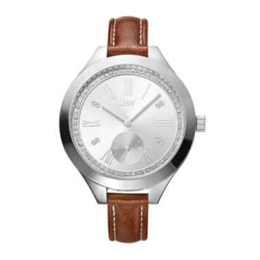 jcpenney.com | JBW Aria Womens Diamond- and Crystal-Accent Brown Leather Strap Watch J6309B