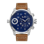 JBW G3 Mens Diamond-Accent Brown Leather Strap Watch J6325E