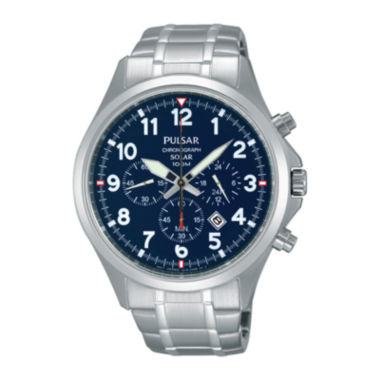jcpenney.com | Pulsar® Mens Stainless Steel Solar Chronograph Sport Watch PX5037