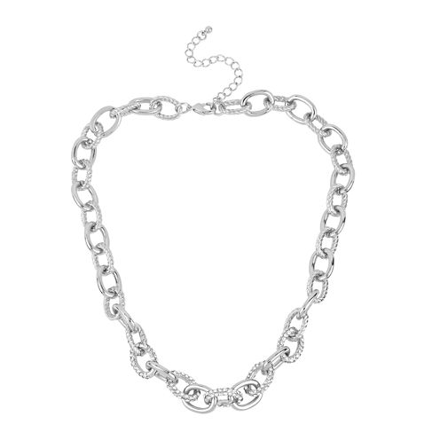 Worthington® Crystal Silver-Tone Smooth and Twisted Oval Link Necklace
