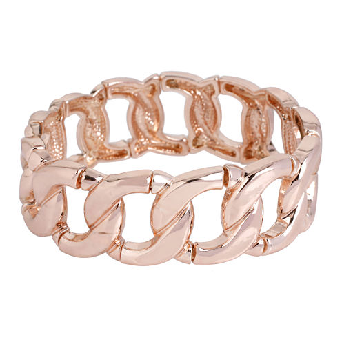 Worthington® Rose-Tone Curb Link Stretch Bracelet
