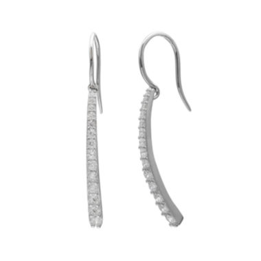 jcpenney.com | Graduated Cubic Zirconia Silver-Plated Bar Drop Earrings