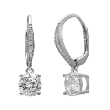 jcpenney.com | Round Cubic Zirconia Silver-Plated Drop Earrings