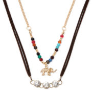 Decree® Elephant and Multicolor Stone 2-pc. Choker Necklace Set