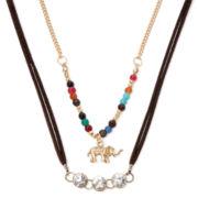 Decree® Elephant and Multicolor Stone 2-pc. Choker Necklace Set