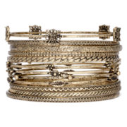 Decree® 12-pc. Antiqued Gold-Tone Bangle Bracelet Set