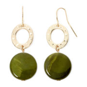 Mixit™ Olive Green Shell Silver-Tone Earrings
