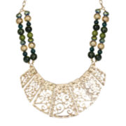 Mixit™ Green Bead Gold-Tone Filigree Collar Necklace