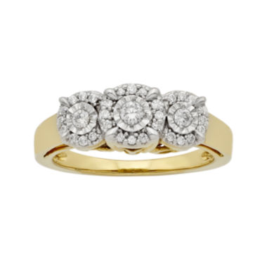 jcpenney.com | LIMITED QUANTITIES 1/4 CT. T.W. Diamond 10K Yellow Gold 3-Stone Ring