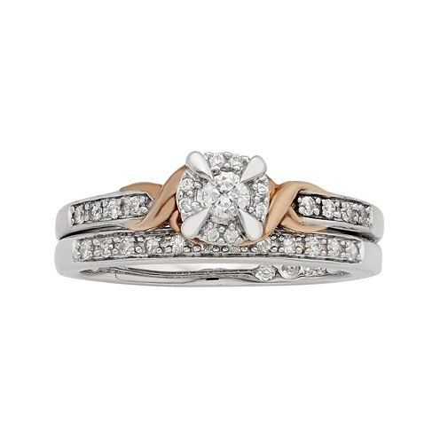 LIMITED QUANTITIES 1/4 CT. T.W. Diamond 10K Two-Tone Gold Bridal Ring Set