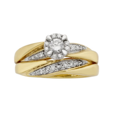 jcpenney.com | LIMITED QUANTITIES 1/2 CT. T.W. Diamond 10K Yellow Gold Bridal Ring Set