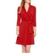 Liz Claiborne® 3/4-Sleeve Belted Wrap Dress