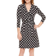 Liz Claiborne® 3/4-Sleeve Belted Wrap Dress