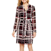 Liz Claiborne® Long-Sleeve Belted Shirtdress