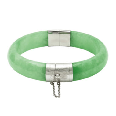 jcpenney.com | Dyed Genuine Green Quartz Sterling Silver Hinged Bangle Bracelet