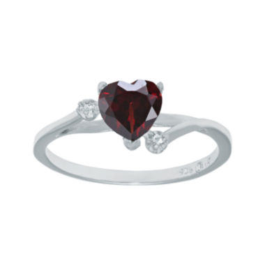 jcpenney.com | Genuine Garnet and White Topaz Sterling Silver Heart-Shaped Ring