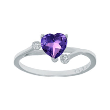 jcpenney.com | Genuine Amethyst and White Topaz Sterling Silver Heart-Shaped Ring