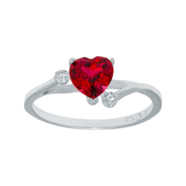 jcpenney.com | Lab-Created Ruby and Genuine White Topaz Sterling Silver Heart-Shaped Ring