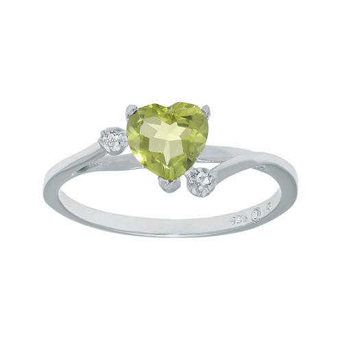 Genuine Peridot and White Topaz Sterling Silver Heart-Shaped Ring