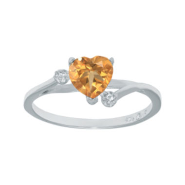 jcpenney.com | Genuine Citrine and White Topaz Sterling Silver Heart-Shaped Ring