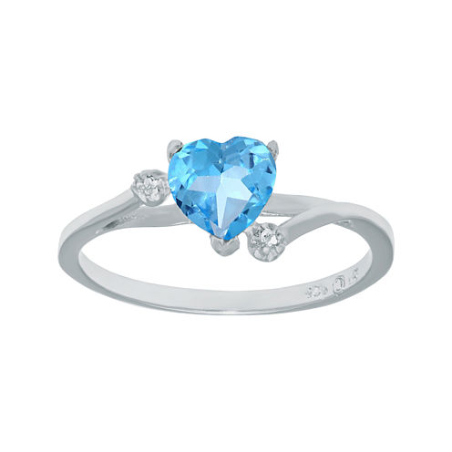 Genuine Blue and White Topaz Sterling Silver Heart-Shaped Ring