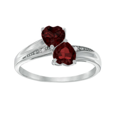 jcpenney.com | Genuine Garnet and Diamond-Accent Sterling Silver Double-Heart Ring