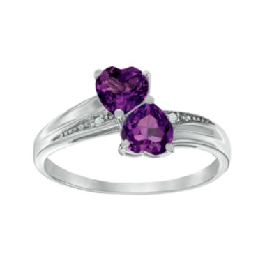 jcpenney.com | Genuine Amethyst and Diamond-Accent Sterling Silver Double-Heart Ring
