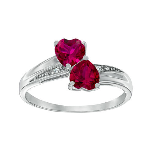 Lab-Created Ruby and Diamond-Accent Sterling Silver Double-Heart Ring