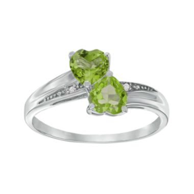 jcpenney.com | Genuine Peridot and Diamond-Accent Sterling Silver Double-Heart Ring
