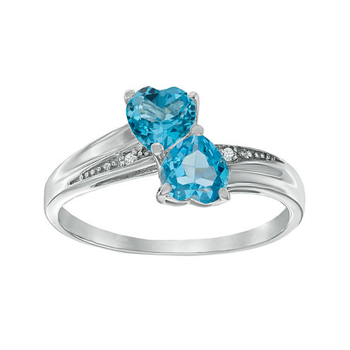 Genuine Blue Topaz and Diamond-Accent Sterling Silver Double-Heart Ring