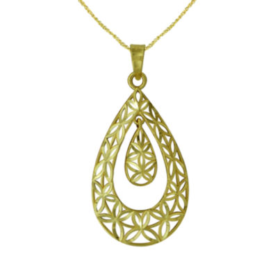 jcpenney.com | Majestique™ 18K Yellow Gold Filigree Pear Pendant Necklace