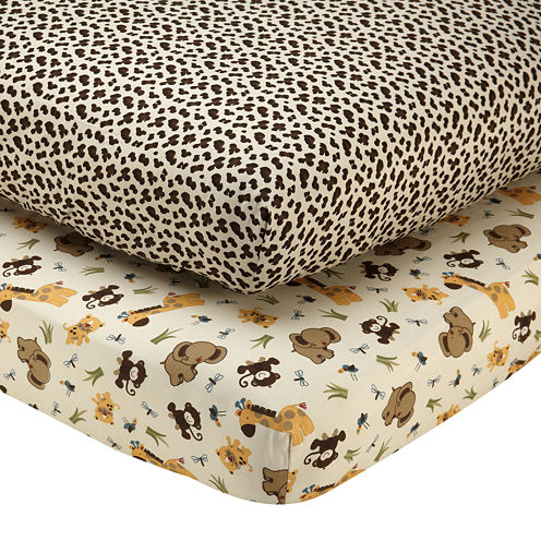 NoJo® Jungle Dreams 2-pk. Fitted Crib Sheet Set
