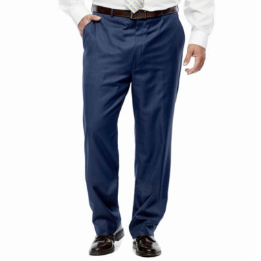 jcpenney.com | Stafford® Travel Medium Blue Flat-Front Suit Pants - Portly Fit