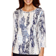 Alfred Dunner® 3/4-Sleeve Animal Print Top