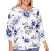 Alfred Dunner® Lake Meade 3/4-Sleeve Floral Stencil Top - Plus