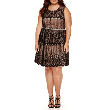 jcpenney.com | City Triangles® Sleeveless Lace Party Dress - Juniors Plus