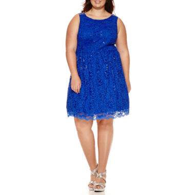 jcpenney.com | City Triangles® Sleeveless U-Back Glitter-Lace Party Dress - Juniors Plus