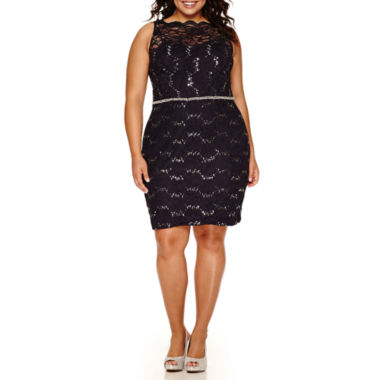 jcpenney.com | City Triangles® Sleeveless Scalloped Lace Dress - Juniors Plus