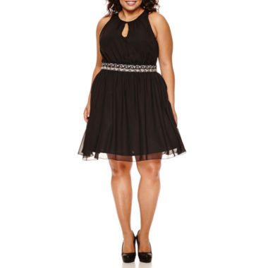 jcpenney.com | City Triangles® Sleeveless Belted Party Dress - Juniors Plus