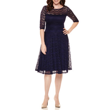 jcpenney.com | Sangria 3/4-Sleeve Lace Midi Fit-and-Flare Dress