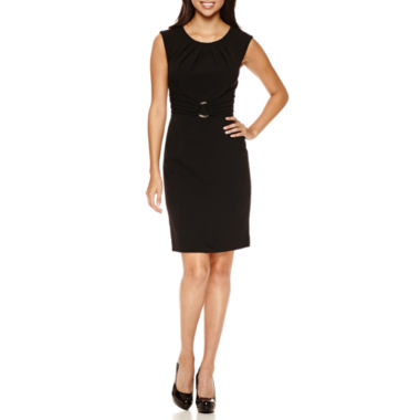 jcpenney.com | Chelsea Rose Sleeveless Pleated-Neck Buckle-Front Sheath Dress