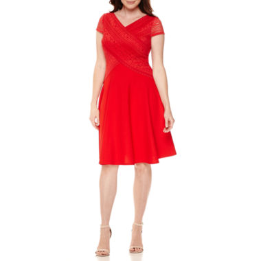 jcpenney.com | Sangria Short-Sleeve V-Neck Lace Crossover Fit-and-Flare Dress