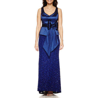 jcpenney.com | Blu Sage Sleeveless Belted Taffeta-Bodice Sequin-Lace Evening Gown