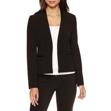 jcpenney.com | Chelsea Rose Long-Sleeve Faux-Leather-Trim Open Jacket